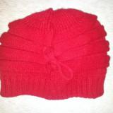 Caciula rosie fete 6-8 ani, din lana, ca noua - Caciula Copii, Culoare: Rosu, Marime: 36