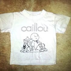 Tricou copii 2-3 ani cu Caillou, bumbac, ca nou, Culoare: Alb