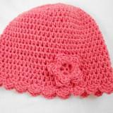 Caciula crosetata roz fetite 2-3 ani, 35 cm, material gros Pro-Image - Caciula Copii