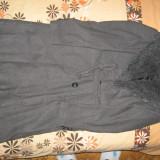Palton lana, cu guler din blana ecologica, ca nou, mar. M - haina de blana