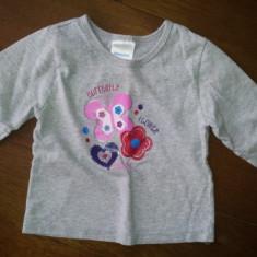 Bluza fete 1-2 ani de la KidConnection, bumbac, usor folosita, Culoare: Antracit