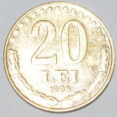 909 ROMANIA 20 LEI 1995 PLACAT CU AUR - Moneda Romania