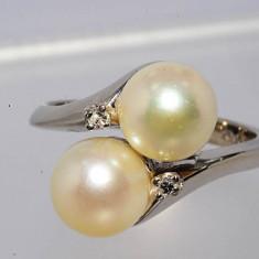. Inel aur alb 14k cu perle si diamante de la KIMBERLY .5, 1gr, 46 - 56