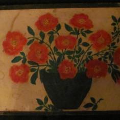 """PVM - """"Vas cu Flori"""", ulei pe carton, anii '70, nesemnat / 31 cm x 24 cm - Tablou autor neidentificat, Realism"""