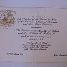 UNICAT!!! INVITATIE LA BANCHETUL DIN 3 MARTIE 1974 OFERIT DE PRES.REP.LIBERIA IN ONOAREA LUI NICOLAE SI ELENA CEAUSESCU, Africa, Documente
