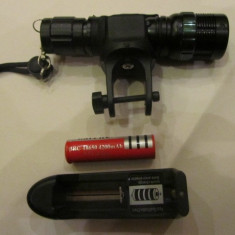 Lanterna far bicicleta cu zoom  led cree R4 -500 mw cu acumulator +suport fixare, Faruri si semnalizatoare