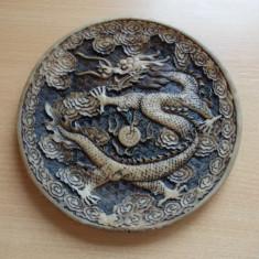 Farfurie decorativa japoneza / Farfurie japoneza din praf de os sau fildes - Arta din Sticla