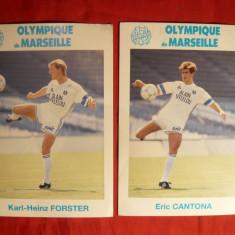 2 Fotografii -Fotbalisti Olimpique Marseille ( E. Cantona)