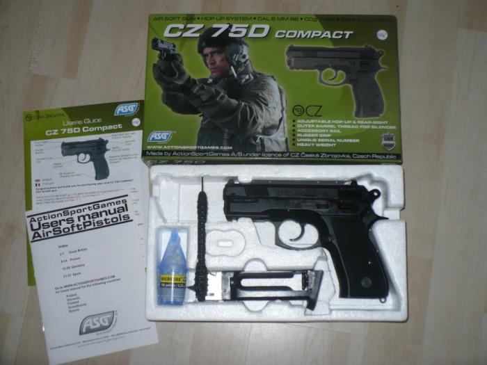 Pistol Airsoft  -C.Z.- 75 D-COMPACT - Bi Propulsie -2  Incarcatoare Dedicate-Co2 si Green Gas -2 incarcatoare !!! foto mare