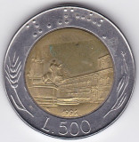 Italia 500 Lire 1991 bimetal