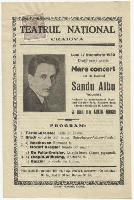 Afis Marele Concert al violonistului Sandu Albu - 1930,timbrat foto