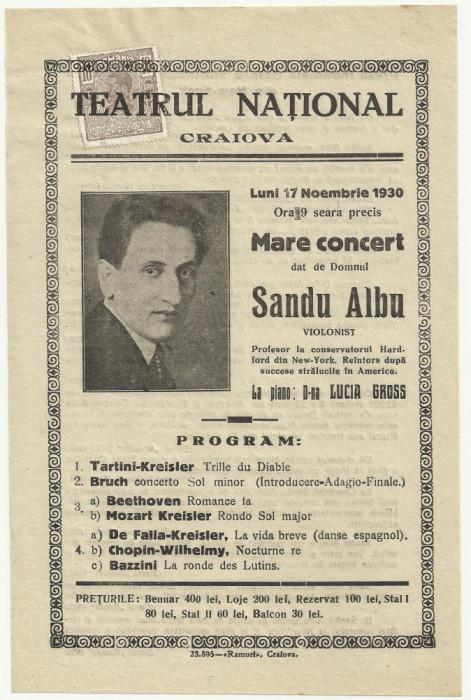 Afis Marele Concert al violonistului Sandu Albu - 1930,timbrat