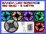Cumpara ieftin ROLA BANDA 150 LED - LEDURI SMD 5050 RGB - 5 METRI, IMPERMEABILA (WATERPROOF), FLEXIBILA - CONTROLER SI TELECOMANDA 44 TASTE INCLUSE