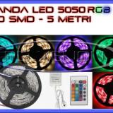 ROLA BANDA 150 LED - LEDURI SMD 5050 RGB - 5 METRI, IMPERMEABILA (WATERPROOF), FLEXIBILA - CONTROLER SI TELECOMANDA 44 TASTE INCLUSE - Banda LED ZDM