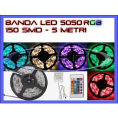 ROLA BANDA 150 LED - LEDURI SMD 5050 RGB - 5 METRI, IMPERMEABILA (WATERPROOF), FLEXIBILA - CONTROLER SI TELECOMANDA 44 TASTE INCLUSE
