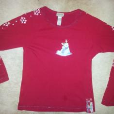 Tricou rosu de dama din bumbac de la Silk & Satin, pentru Christmas, ca nou - Tricou dama, Marime: S/M, Maneca lunga