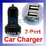 Incarcator auto iPhone 5, iPhone 4, iPhone 3, ipod, ipad, Universal Dual 2 Port USB (1USB = 5V-1A , 2USB = 5V-2,1A)