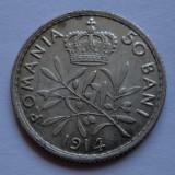 50 bani 1914 Bruxelles Argint LUCIU DE BATERE - piesa 3 - - Moneda Romania