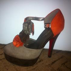 Pantofi cu platforma Leonardo - Pantof dama, Culoare: Orange, Cappuccino, Maro, Marime: 37, Orange