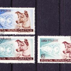 Timbre ROMANIA 1957/*447 - CATELUSA LAIKA - EROARE Cap deplasat in sus