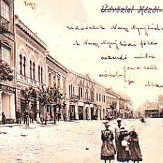 Romania, Kezdivasarhely, Targu Secuiesc, carte postala circulata 1900:Centru, animat - Carte Postala Transilvania pana la 1904, Fotografie
