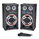 Set 2 boxe active/amplificate cu mixer inclus,mp3 player stick ,card,250 watt putere.KARAOKE+2 MICROFOANE BONUS.