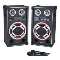 set 2 boxe active/amplificate cu mixer inclus,mp3 player stick ,card,250 watt putere.KARAOKE+2 MICROFOANE BONUS.