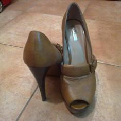 Pantofi Zara piele, marimea 40 - Pantof dama Zara, Culoare: Maro, Maro, Cu toc