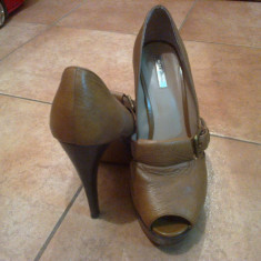 Pantofi Zara piele, marimea 40 - Pantof dama Zara, Culoare: Maro, Maro