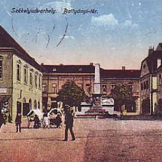 Romania, Odorheiu Secuiesc, carte postala 1918, circ. 1923: Piata Battyanyi, animat - Carte Postala Transilvania 1904-1918, Circulata, Fotografie