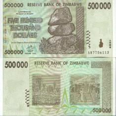 ZIMBABWE- 500 000 DOLLARS 2008- UNC!! - bancnota africa