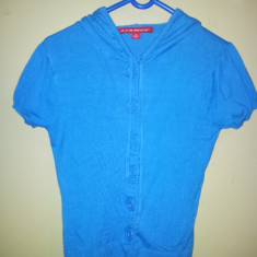 Bluza albastra cu gluga gen plover fete 8-9 ani, marimea S, bumbac, ca noua, Culoare: Albastru