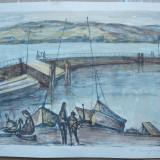 Marina, serigrafie color, ex. 105 / 200 ; Desen cubist in acuarela, 2 lucrari - Pictor strain, Scene gen, Altul