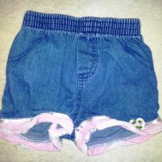 Pantaloni scurti blugi cu danteluta, din bumbac, de la Mini Wear, fete 6-9 luni