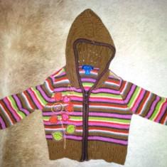 Pulover cu gluga din bumbac si acril de la Children's Place, fete 18 luni, Culoare: Maro