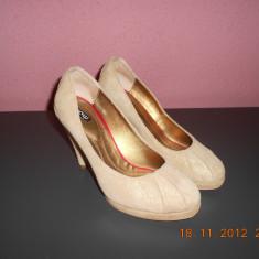 Pantofi gala cu platforma - Pantof dama, Culoare: Auriu, Marime: 37, Auriu