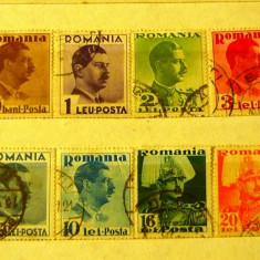 Carol al II-lea cu posta 1935 - serie completa stampilata - 2+1 gratis toate licitatiile - RBK1515 - Timbre Romania