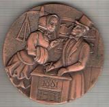 C369 Medalie -Comemorare Centenar Banca SABADELL 1881-1981 -Spania-interesanta -marime cca 60 mm, gr. aprox 124 gr. -starea care se vede