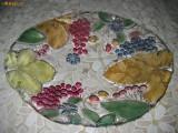 Fructiera mare din sticla colorata, model struguri