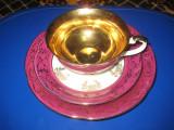 Set de cafea de 1 persoana, culoare  alb- bordo cu auriu