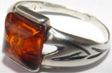 Inel vechi din argint cu chihlimbar (4) - de colectie