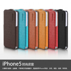 Husa Toc Flip Case Fashion Apple iPhone 5 5S Brown by Yoobao Originala - Husa Telefon Yoobao, Maro, Piele Ecologica, Cu clapeta