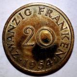 E.177 GERMANIA FRANTA SAARLAND SAAR 20 FRANKEN 1954 XF, Europa, Bronz-Aluminiu