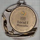 C454 Medalie Campionatul National de Baschet, Divizia A -Locul I Masculin -Editia 2010-2011 -marime 69x75 mm, gr. aprox 45 gr.-starea care se vede - Medalii Romania