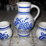 Servici vin, stacana cu 2 cani din ceramica