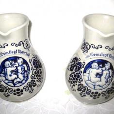 Stacane de vin din ceramica- 2mari, inaltime 20 cm latime 15cm, 3mici- 18_14 cm. Pret pe set.