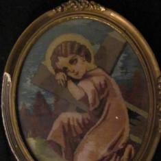 "PVM - Vechi goblen ""Inger cu Sfinta Cruce"" in tablou / 22 cm x 28 cm"