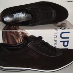 Pantofi / Adidasi Casual HUGO BOSS 100% Piele Intoarsa - Bleumarin / Negru !!! - Pantof barbat Hugo Boss, Marime: 41, 43, 44, 45, Piele naturala