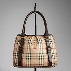 Vand poseta Burberry ORIGINALA, model small-haymarket-check-tote-bag - Geanta Dama Burberry, Geanta de umar, Coffee, Piele, Medie