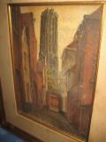 Peisaj vechi semnat indescifrabil cu cladiri de oras vechi- panza pe carton